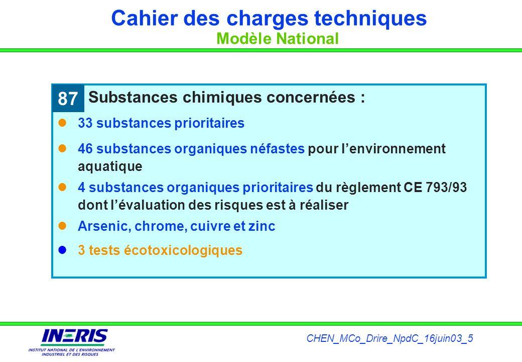 CHEN_MCo_Drire_NpdC_16juin03_5 Substances chimiques concernées : 33 substances prioritaires 46 substances organiques néfastes pour lenvironnement aqua