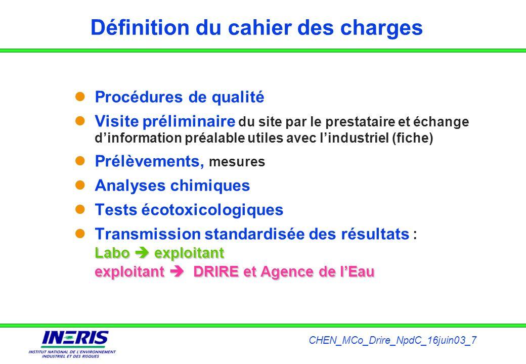 CHEN_MCo_Drire_NpdC_16juin03_7 Définition du cahier des charges Procédures de qualité Visite préliminaire du site par le prestataire et échange dinfor