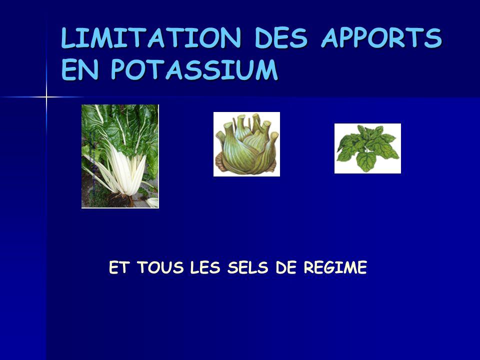 LIMITATION DES APPORTS EN POTASSIUM ET TOUS LES SELS DE REGIME
