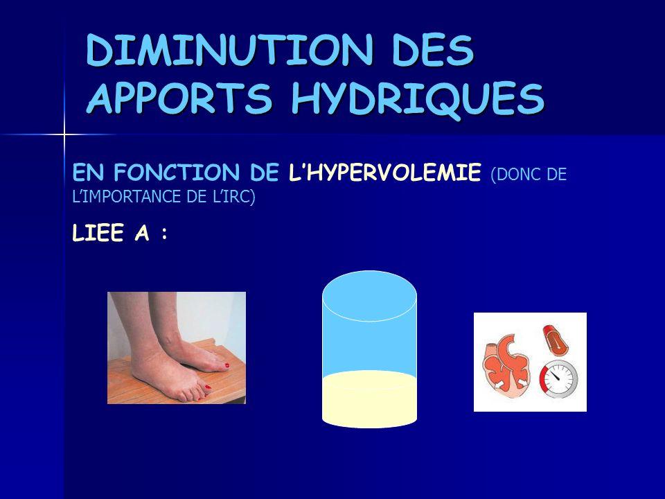 DIMINUTION DES APPORTS HYDRIQUES EN FONCTION DE LHYPERVOLEMIE ( DONC DE LIMPORTANCE DE LIRC) LIEE A :