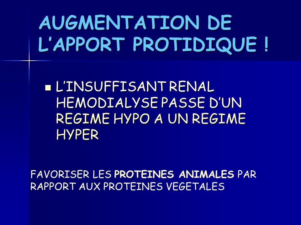 AUGMENTATION DE LAPPORT PROTIDIQUE ! LINSUFFISANT RENAL HEMODIALYSE PASSE DUN REGIME HYPO A UN REGIME HYPER LINSUFFISANT RENAL HEMODIALYSE PASSE DUN R