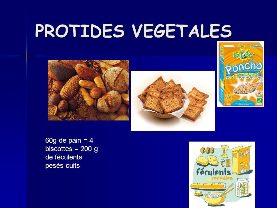 PROTIDES VEGETALES 60g de pain = 4 biscottes = 200 g de féculents pesés cuits