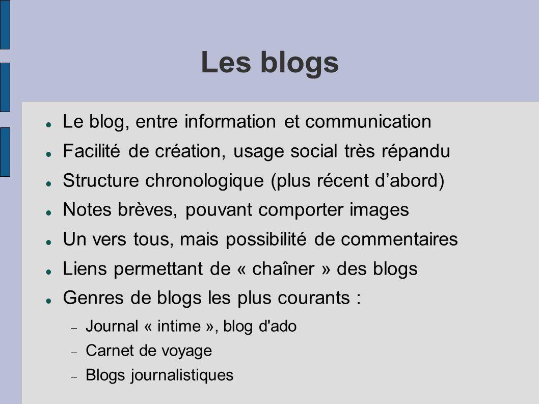 Les blogs Le blog, entre information et communication Facilité de création, usage social très répandu Structure chronologique (plus récent dabord) Not