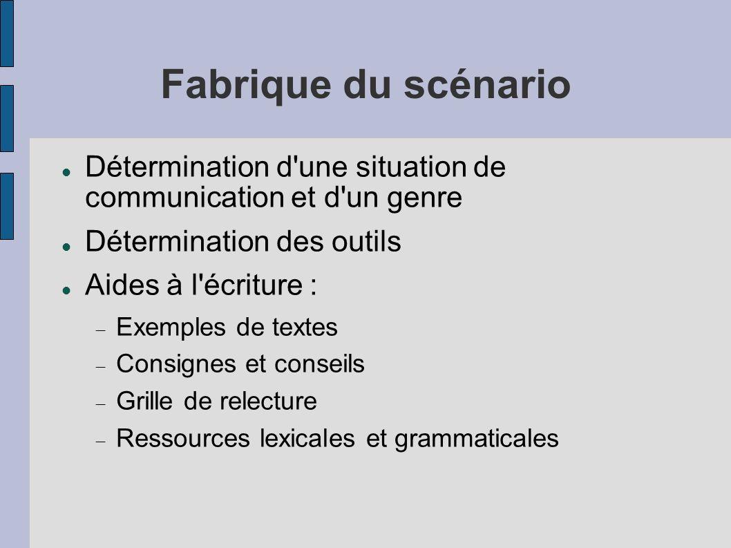 Fabrique du scénario Détermination d'une situation de communication et d'un genre Détermination des outils Aides à l'écriture : Exemples de textes Con