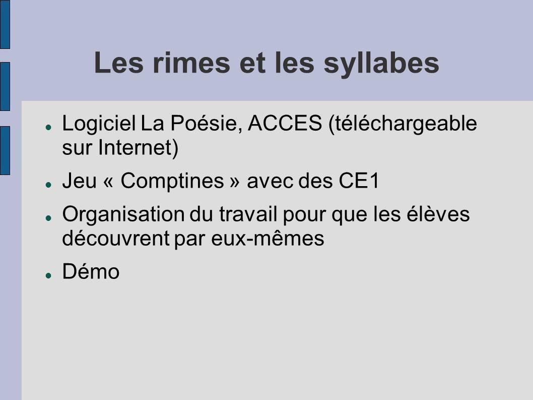 Les rimes et les syllabes Logiciel La Poésie, ACCES (téléchargeable sur Internet) Jeu « Comptines » avec des CE1 Organisation du travail pour que les