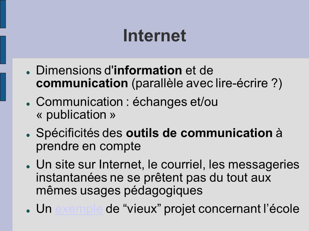 Internet Dimensions d'information et de communication (parallèle avec lire-écrire ?) Communication : échanges et/ou « publication » Spécificités des o