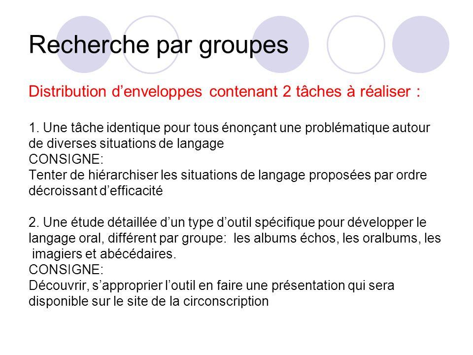 Recherche par groupes Distribution denveloppes contenant 2 tâches à réaliser : 1. Une tâche identique pour tous énonçant une problématique autour de d