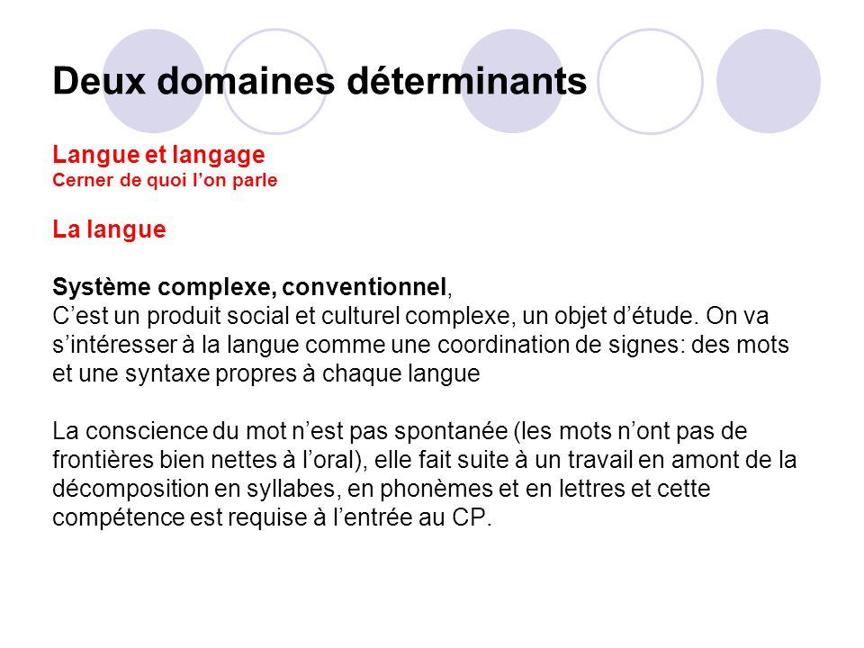 Deux domaines déterminants Langue et langage Cerner de quoi lon parle La langue Système complexe, conventionnel, Cest un produit social et culturel co