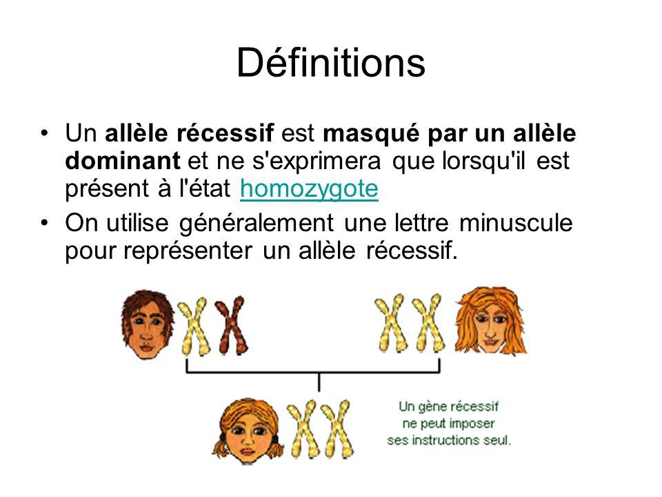 Définitions Un allèle récessif est masqué par un allèle dominant et ne s'exprimera que lorsqu'il est présent à l'état homozygotehomozygote On utilise