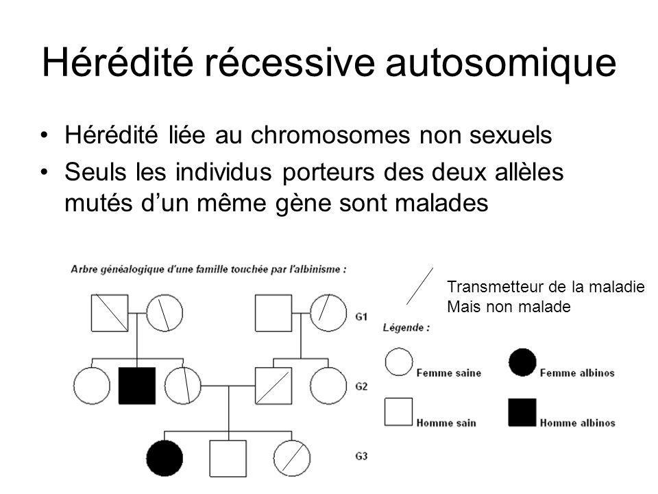 Hérédité récessive autosomique Hérédité liée au chromosomes non sexuels Seuls les individus porteurs des deux allèles mutés dun même gène sont malades