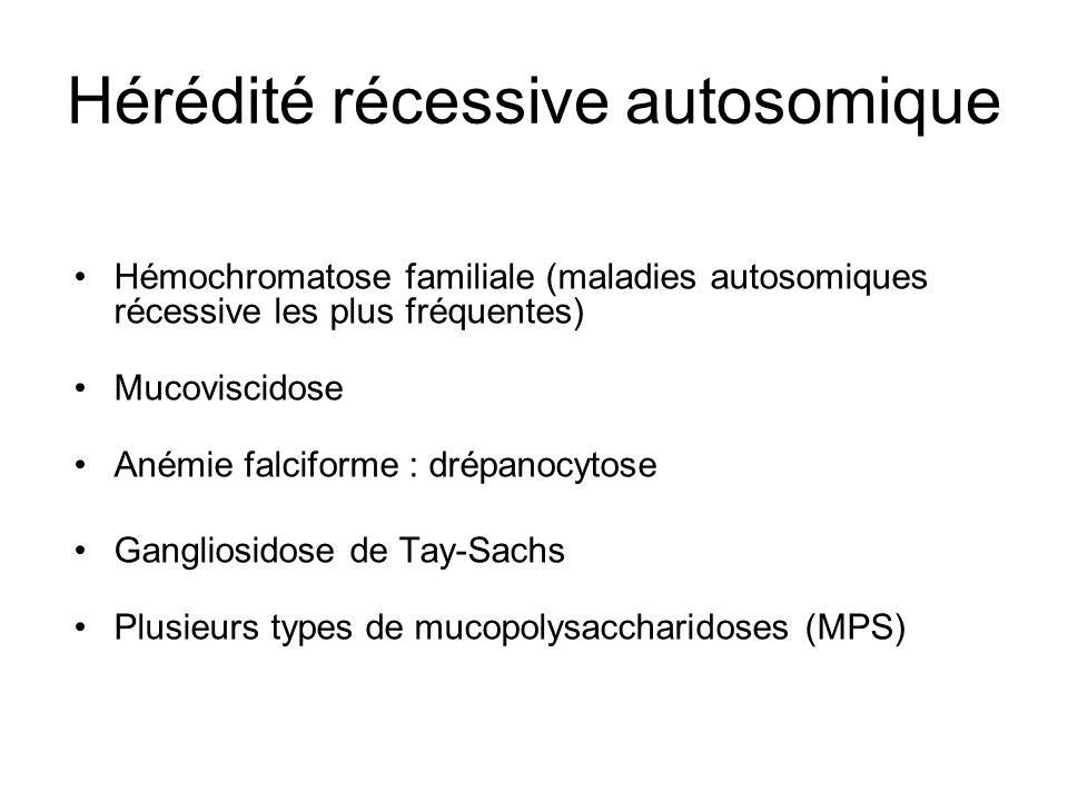 Hérédité récessive autosomique Hémochromatose familiale (maladies autosomiques récessive les plus fréquentes) Mucoviscidose Anémie falciforme : drépan