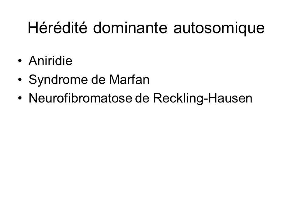 Hérédité dominante autosomique Aniridie Syndrome de Marfan Neurofibromatose de Reckling-Hausen