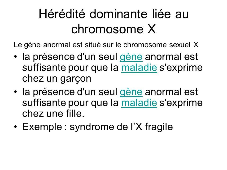 Hérédité dominante liée au chromosome X Le gène anormal est situé sur le chromosome sexuel X la présence d'un seul gène anormal est suffisante pour qu