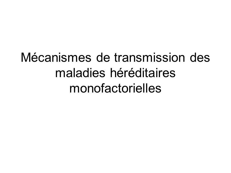Mécanismes de transmission des maladies héréditaires monofactorielles