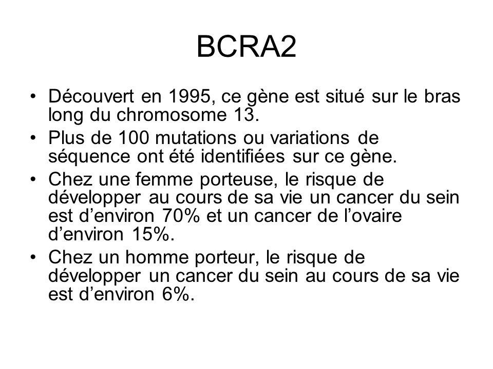 BCRA2 Découvert en 1995, ce gène est situé sur le bras long du chromosome 13. Plus de 100 mutations ou variations de séquence ont été identifiées sur
