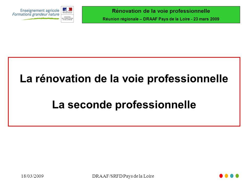 Rénovation de la voie professionnelle Réunion régionale – DRAAF Pays de la Loire - 23 mars 2009 18/03/2009DRAAF/SRFD Pays de la Loire La rénovation de