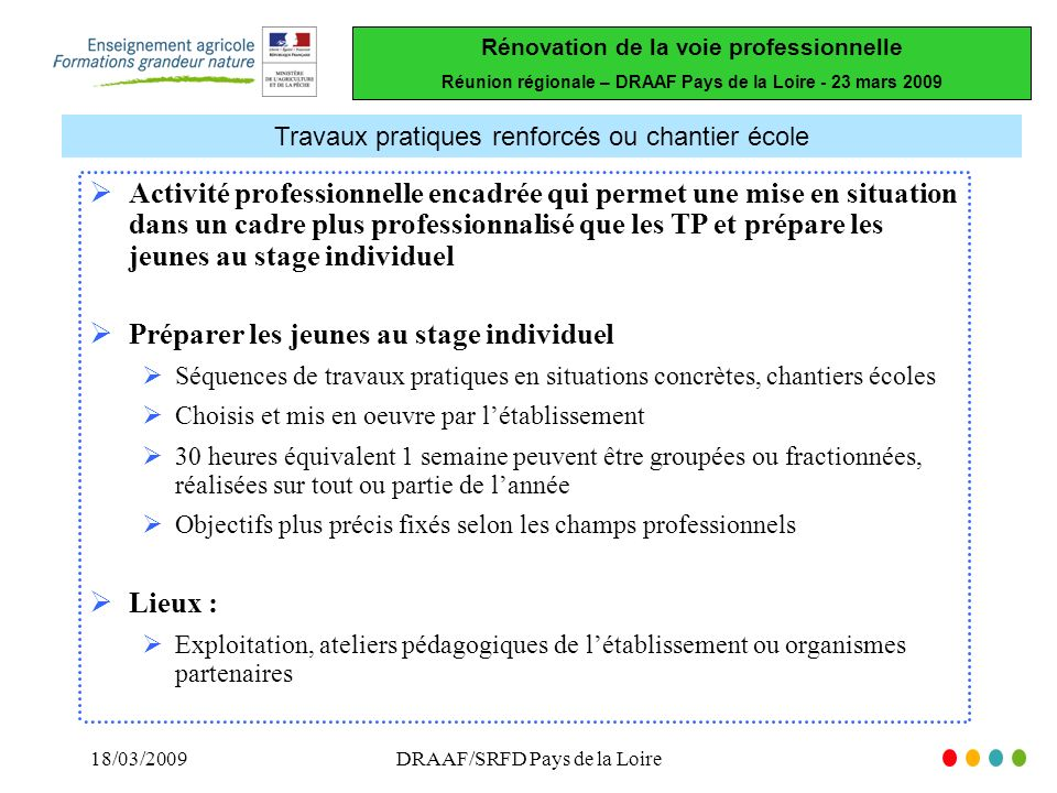 Rénovation de la voie professionnelle Réunion régionale – DRAAF Pays de la Loire - 23 mars 2009 18/03/2009DRAAF/SRFD Pays de la Loire Travaux pratique