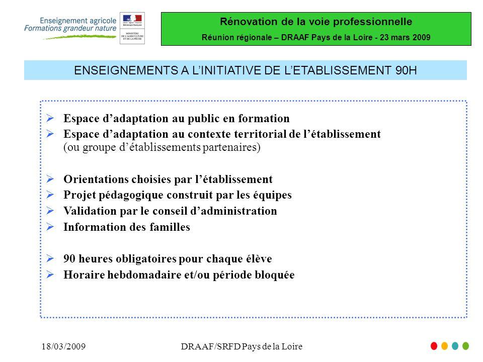 Rénovation de la voie professionnelle Réunion régionale – DRAAF Pays de la Loire - 23 mars 2009 18/03/2009DRAAF/SRFD Pays de la Loire ENSEIGNEMENTS A