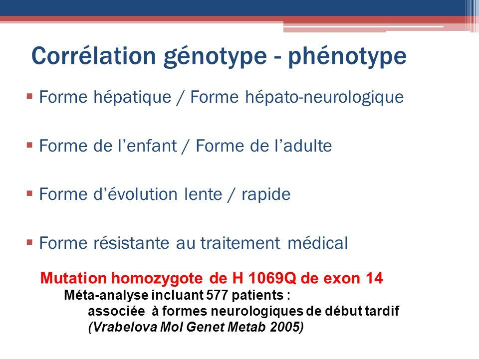 Corrélation génotype - phénotype Forme hépatique / Forme hépato-neurologique Forme de lenfant / Forme de ladulte Forme dévolution lente / rapide Forme