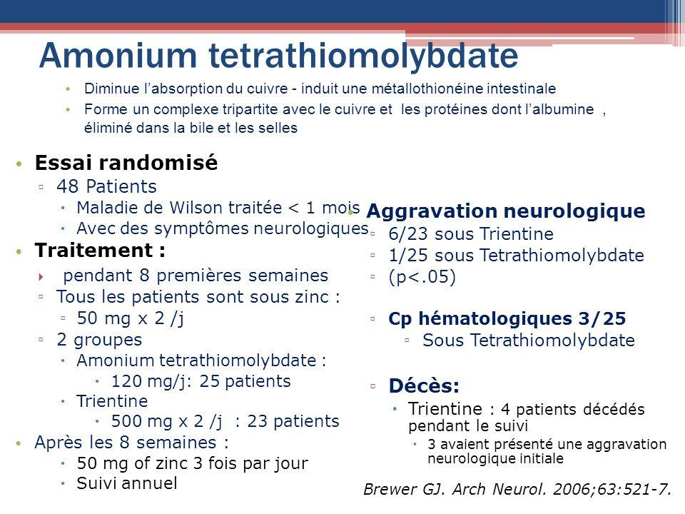 Amonium tetrathiomolybdate Essai randomisé 48 Patients Maladie de Wilson traitée < 1 mois Avec des symptômes neurologiques Traitement : pendant 8 prem
