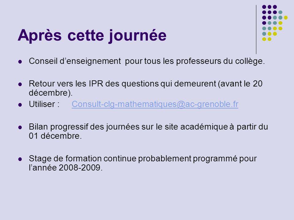 Après cette journée Conseil denseignement pour tous les professeurs du collège. Retour vers les IPR des questions qui demeurent (avant le 20 décembre)