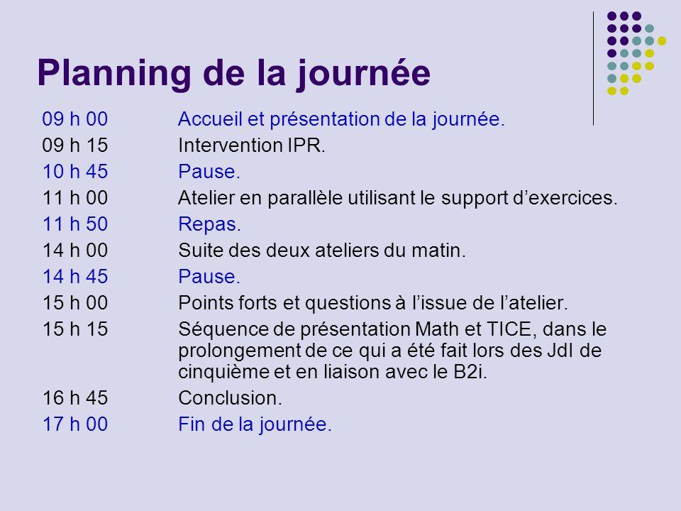 Planning de la journée 09 h 00Accueil et présentation de la journée. 09 h 15Intervention IPR. 10 h 45Pause. 11 h 00Atelier en parallèle utilisant le s
