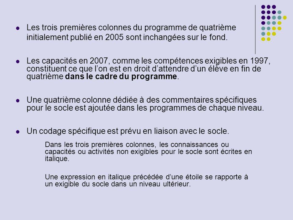 Les trois premières colonnes du programme de quatrième initialement publié en 2005 sont inchangées sur le fond. Les capacités en 2007, comme les compé
