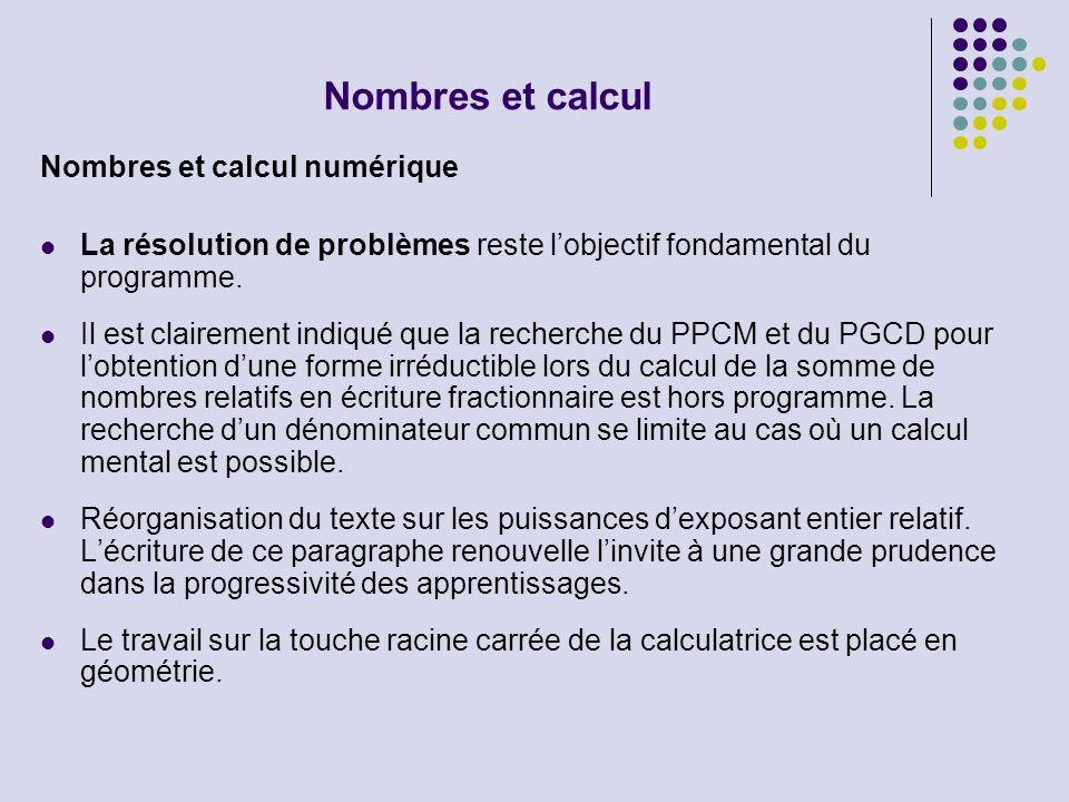 Nombres et calcul Nombres et calcul numérique La résolution de problèmes reste lobjectif fondamental du programme. Il est clairement indiqué que la re