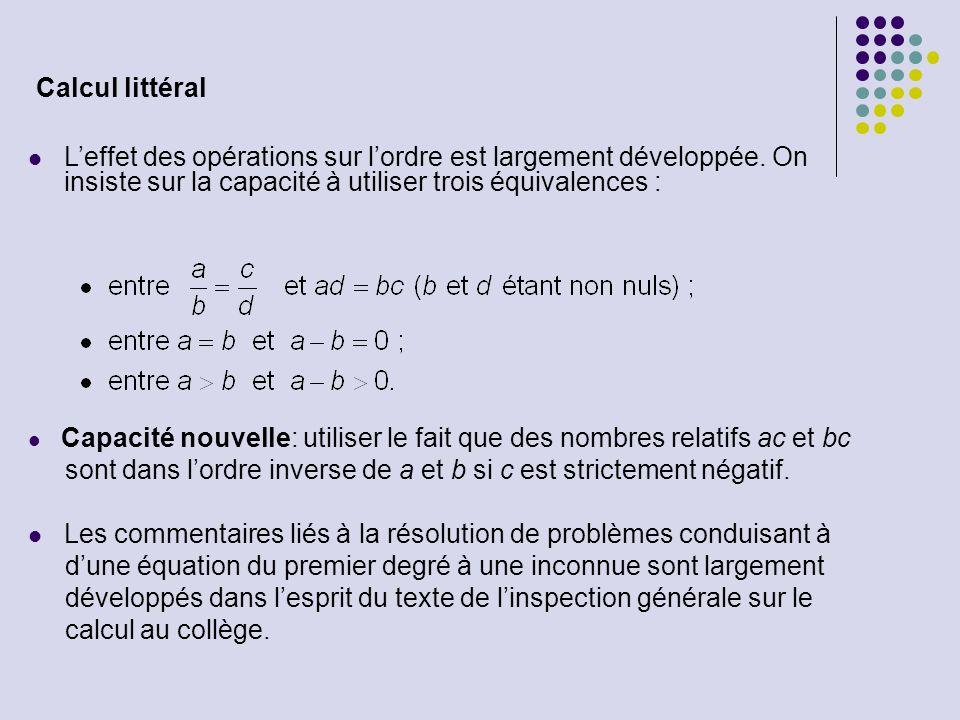 Capacité nouvelle: utiliser le fait que des nombres relatifs ac et bc sont dans lordre inverse de a et b si c est strictement négatif. Les commentaire