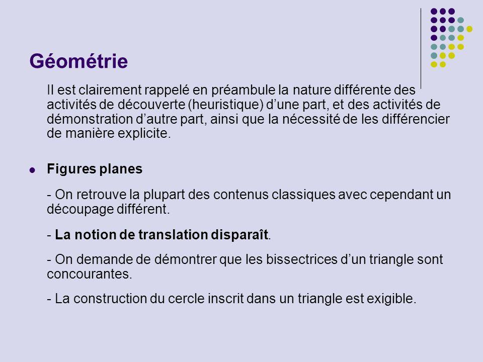 Géométrie Il est clairement rappelé en préambule la nature différente des activités de découverte (heuristique) dune part, et des activités de démonst