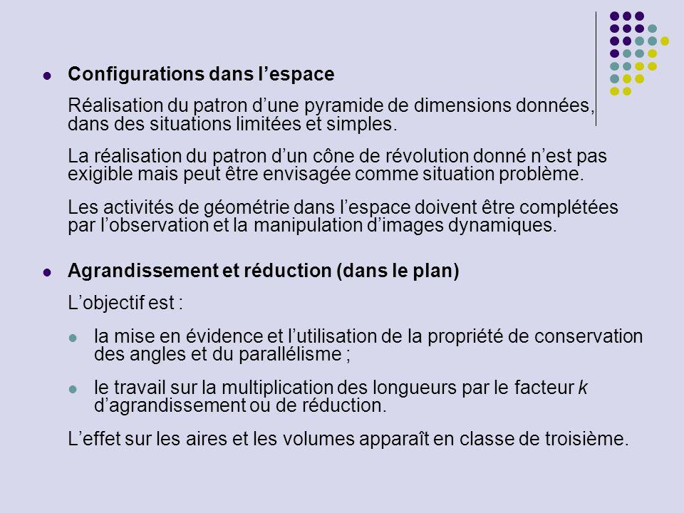 Configurations dans lespace Réalisation du patron dune pyramide de dimensions données, dans des situations limitées et simples. La réalisation du patr