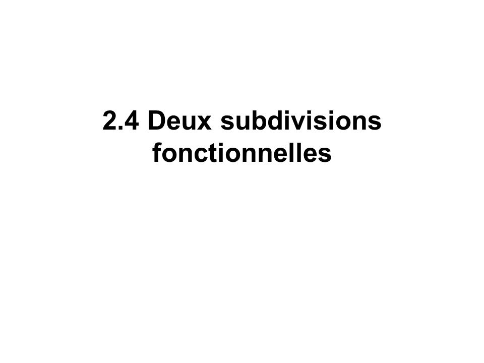 2.4 Deux subdivisions fonctionnelles
