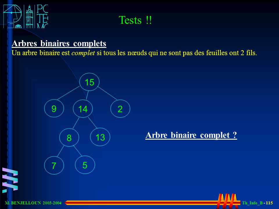 Th_Info_B - 115 M. BENJELLOUN 2003-2004 15 14 2 8 13 7 5 Arbre binaire complet ? 9 Arbres binaires complets Un arbre binaire est complet si tous les n