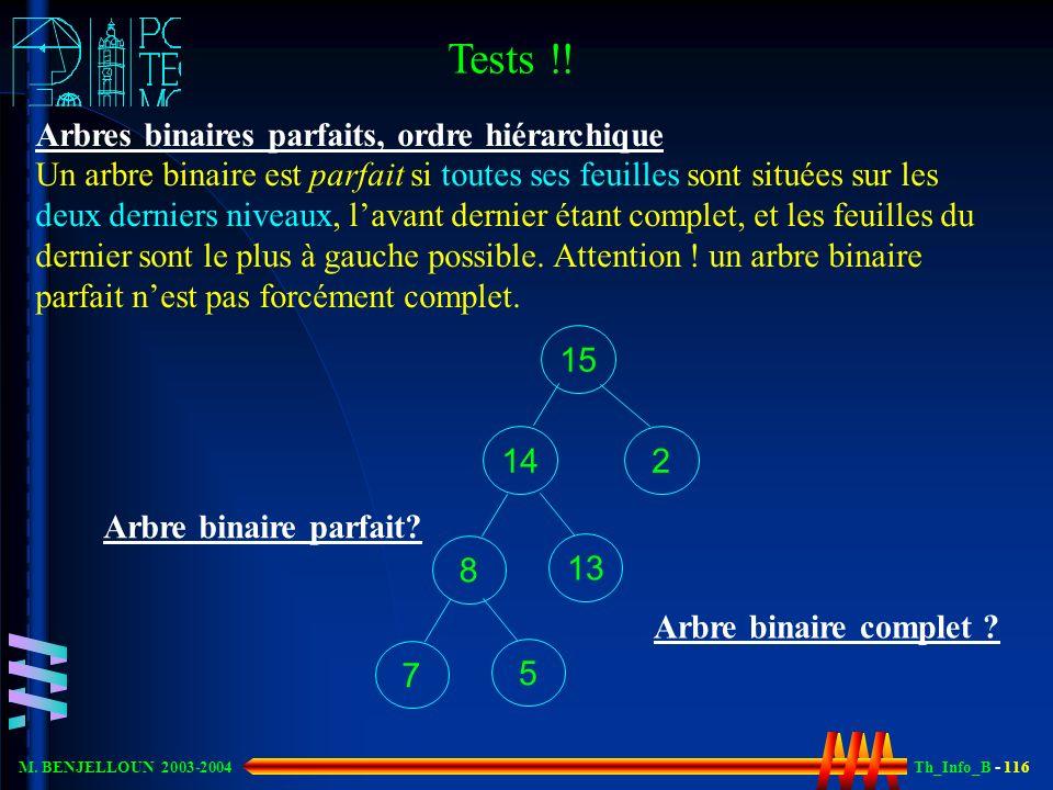 Th_Info_B - 116 M. BENJELLOUN 2003-2004 Arbres binaires parfaits, ordre hiérarchique Un arbre binaire est parfait si toutes ses feuilles sont situées