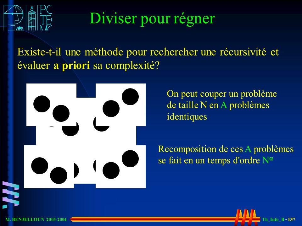 Th_Info_B - 137 M. BENJELLOUN 2003-2004 Diviser pour régner Existe-t-il une méthode pour rechercher une récursivité et évaluer a priori sa complexité?