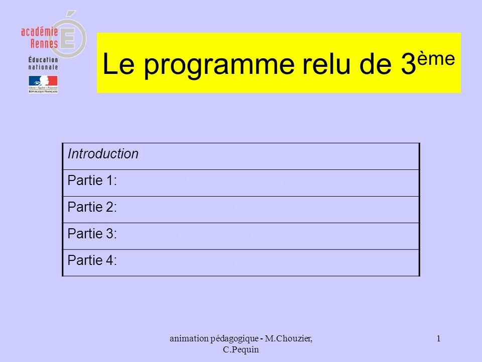 animation pédagogique - M.Chouzier, C.Pequin 1 Le programme relu de 3 ème Introduction Partie 1: Diversité et unité des êtres humainsDiversité et unit