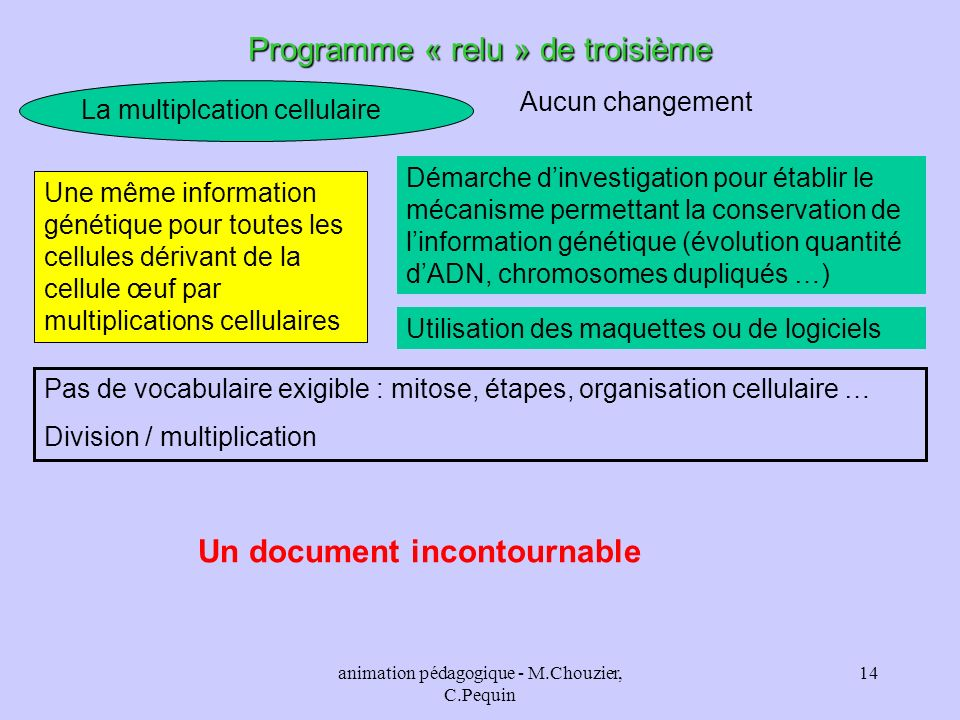 animation pédagogique - M.Chouzier, C.Pequin 14 Programme « relu » de troisième La multiplcation cellulaire Aucun changement Une même information géné