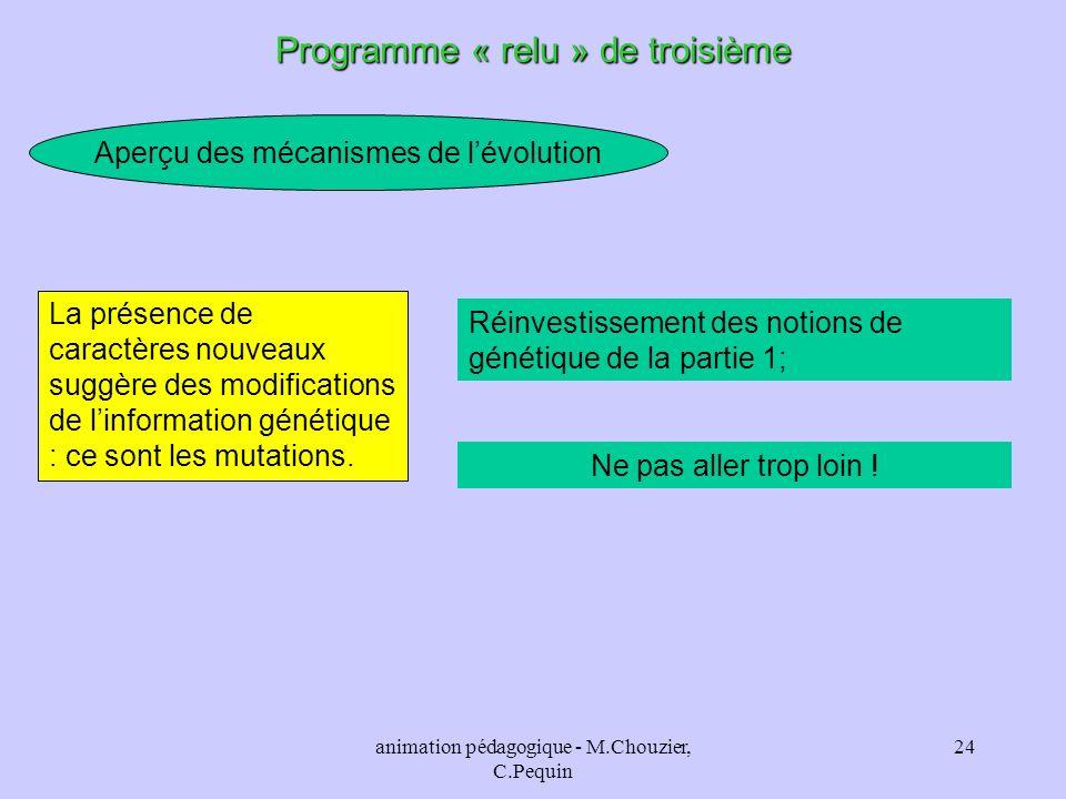 animation pédagogique - M.Chouzier, C.Pequin 24 Aperçu des mécanismes de lévolution Programme « relu » de troisième Réinvestissement des notions de gé