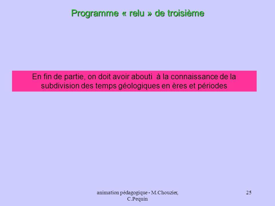 animation pédagogique - M.Chouzier, C.Pequin 25 Programme « relu » de troisième En fin de partie, on doit avoir abouti à la connaissance de la subdivi
