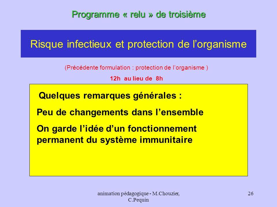 animation pédagogique - M.Chouzier, C.Pequin 26 Risque infectieux et protection de lorganisme Programme « relu » de troisième (Précédente formulation