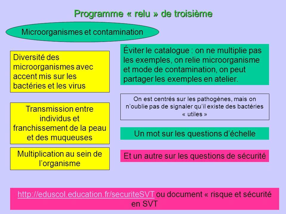 animation pédagogique - M.Chouzier, C.Pequin 28 Microorganismes et contamination Programme « relu » de troisième Éviter le catalogue : on ne multiplie