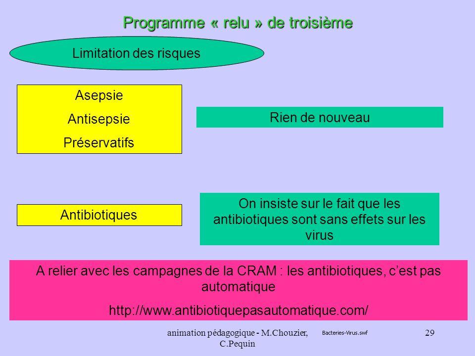 animation pédagogique - M.Chouzier, C.Pequin 29 Limitation des risques Programme « relu » de troisième Rien de nouveau Asepsie Antisepsie Préservatifs