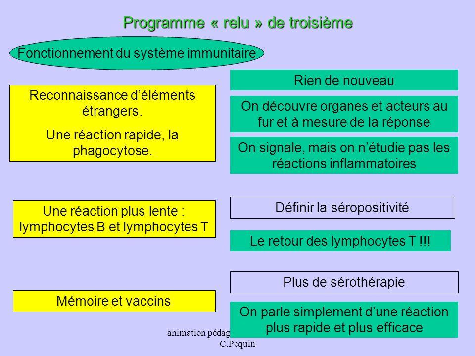 animation pédagogique - M.Chouzier, C.Pequin 30 Fonctionnement du système immunitaire Programme « relu » de troisième Rien de nouveau Reconnaissance d