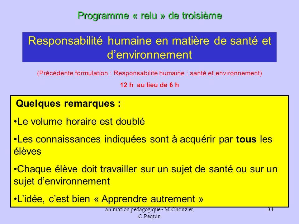animation pédagogique - M.Chouzier, C.Pequin 34 Responsabilité humaine en matière de santé et denvironnement Programme « relu » de troisième Quelques