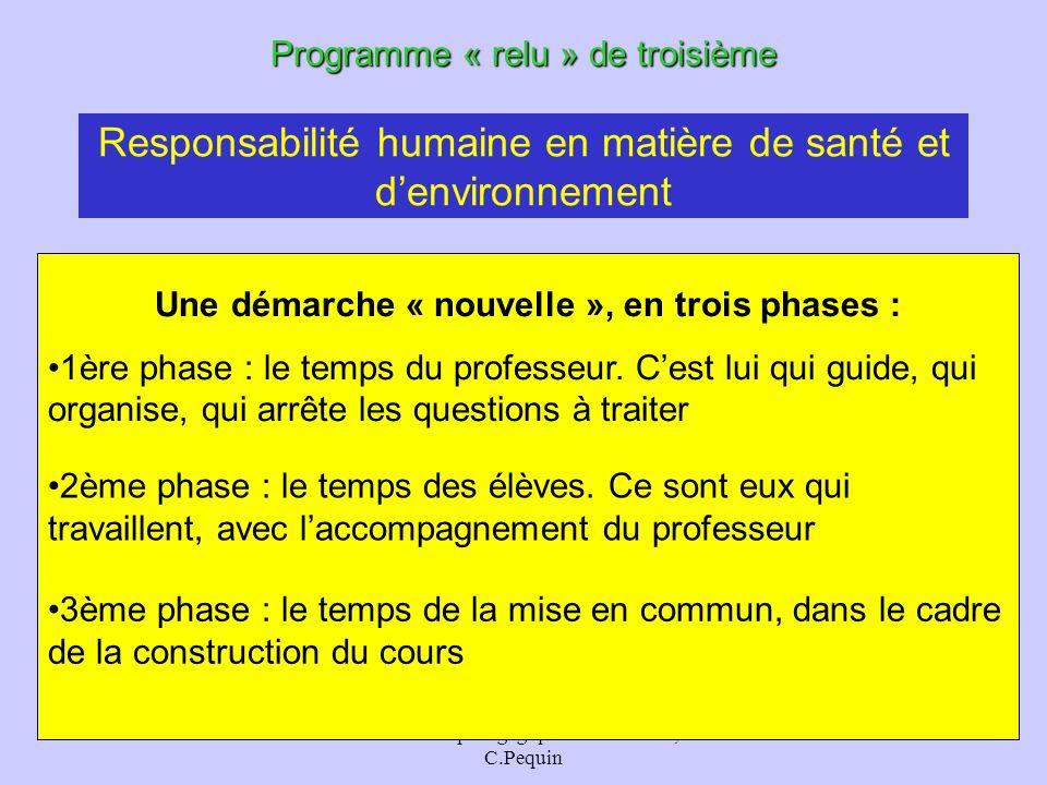 animation pédagogique - M.Chouzier, C.Pequin 36 Responsabilité humaine en matière de santé et denvironnement Programme « relu » de troisième Une démar