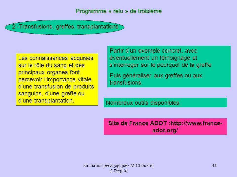 animation pédagogique - M.Chouzier, C.Pequin 41 Programme « relu » de troisième 2 -Transfusions, greffes, transplantations Les connaissances acquises