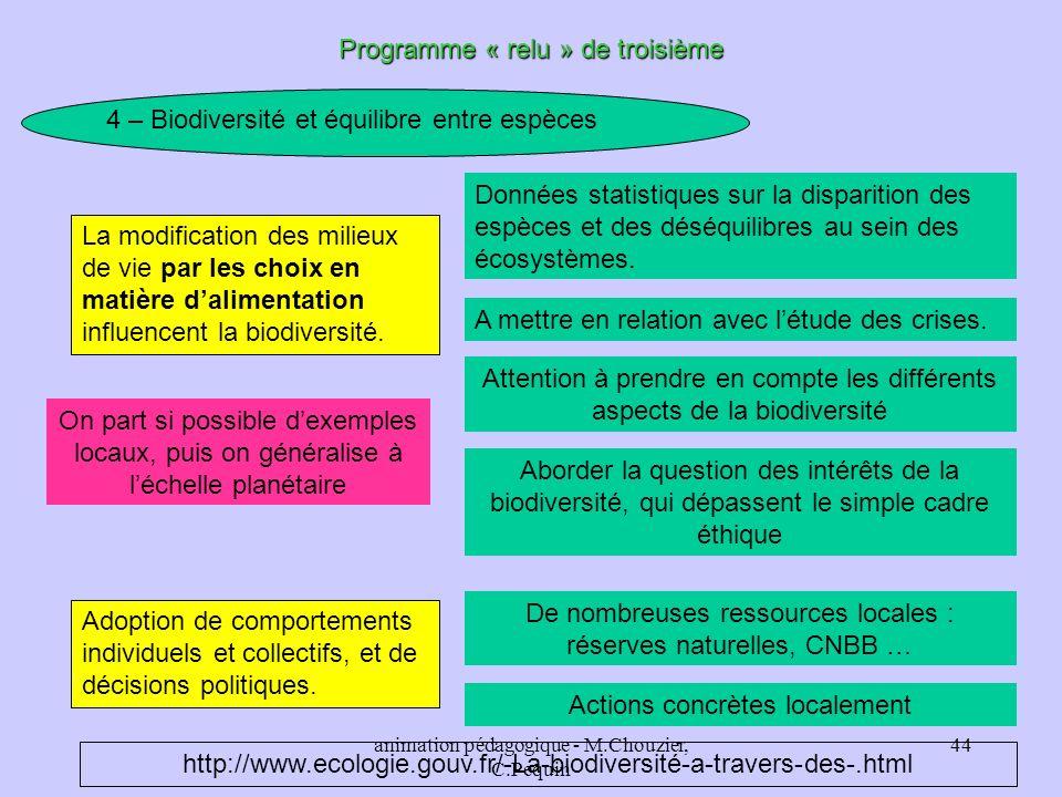 animation pédagogique - M.Chouzier, C.Pequin 44 Programme « relu » de troisième 4 – Biodiversité et équilibre entre espèces La modification des milieu