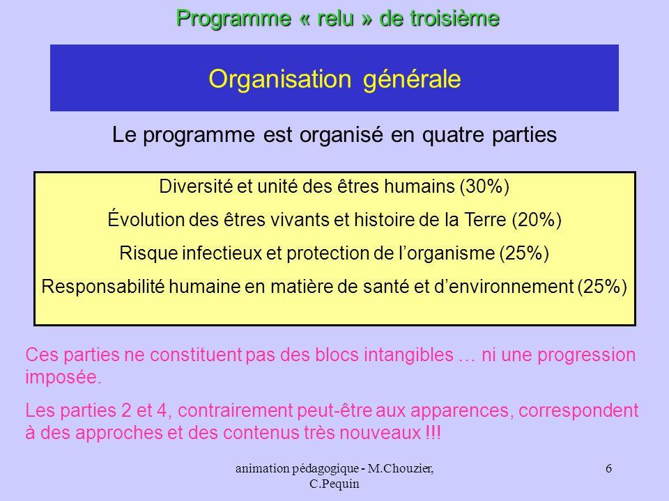animation pédagogique - M.Chouzier, C.Pequin 6 Programme « relu » de troisième Le programme est organisé en quatre parties Diversité et unité des être