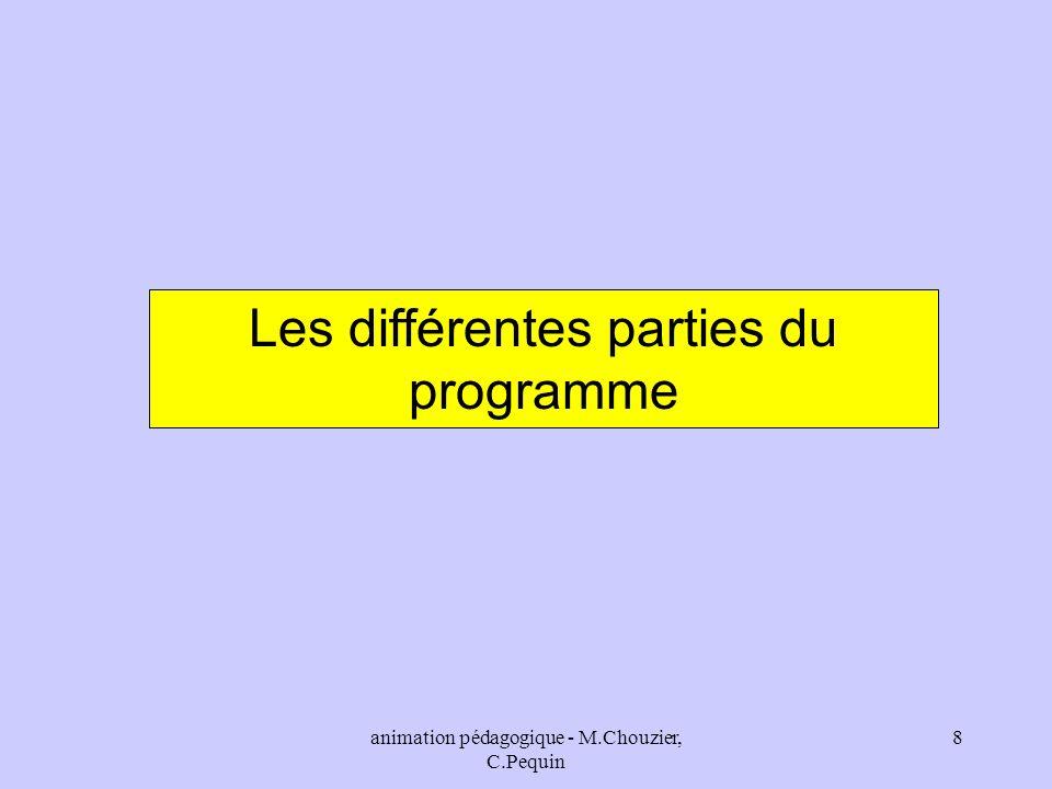 animation pédagogique - M.Chouzier, C.Pequin 8 Les différentes parties du programme