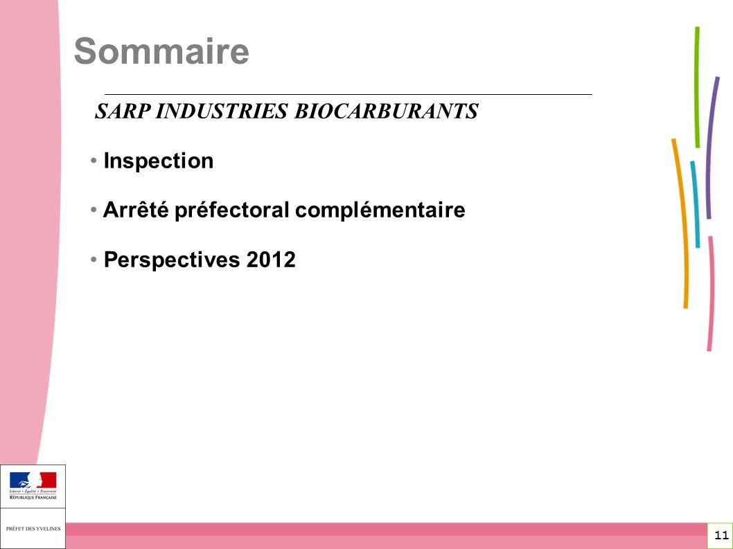 11 11 SARP INDUSTRIES BIOCARBURANTS Inspection Arrêté préfectoral complémentaire Perspectives 2012 Sommaire